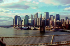 NYC Skyline from Manhattan Bridge Postcard Halftone style