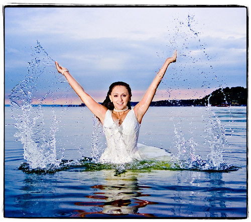 woman reflection sexy wet topf25 water beautiful happy bride model fuji flash august longisland 1755mmf28g splash bridalportrait topf100 2007 triumphant cshl coldspringsharbor strobist s5pro trashthedress fearlessbridal