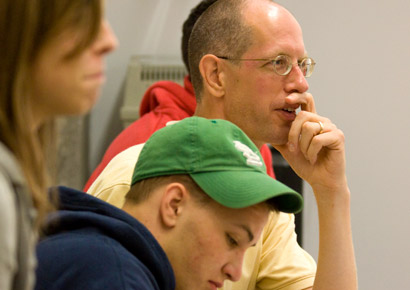 Newman University students in class with professor Kelly McFall