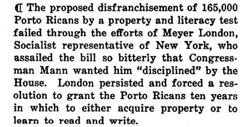 Proposed Disfranchisement of Puerto Ricans - June, 1917