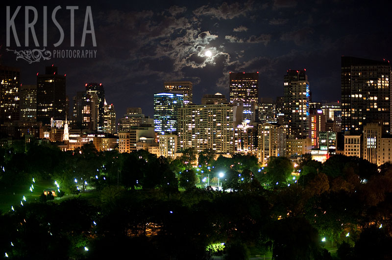 Boston Skyline at night from the Taj