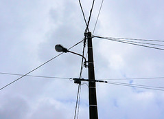 outdoor structure(0.0), electronic device(0.0), television antenna(0.0), mast(0.0), wind(0.0), lighting(0.0), antenna(0.0), electrical supply(1.0), light fixture(1.0), overhead power line(1.0), line(1.0), transmission tower(1.0), street light(1.0), electricity(1.0), public utility(1.0),
