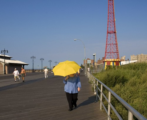 yellow umbrella, Coney Island by Alida's Photos