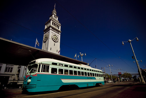 Washington DC trolley in front of the Ferry Building in San Francisco