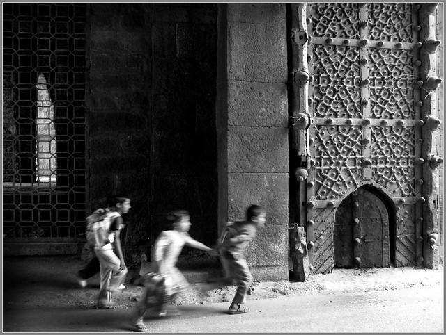 Running through the Gate of Golkonda Fort, Hyderabad