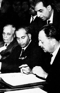 Ayub Khan signing the Tashkent Agreement in 1966