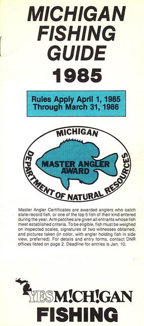 1985 michigan fishing license guide flickr photo sharing for Michigan fishing regulations