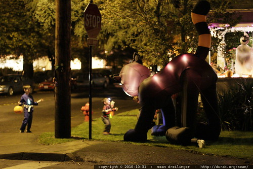 entertaining themselves with a giant inflatable halloween cat