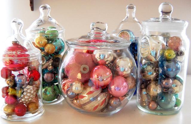 vintage christmas ornaments in jars