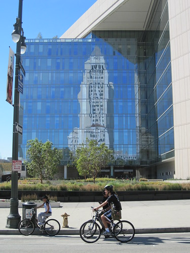 Now ubiquitous City Hall reflection in new LAPD HQ windows