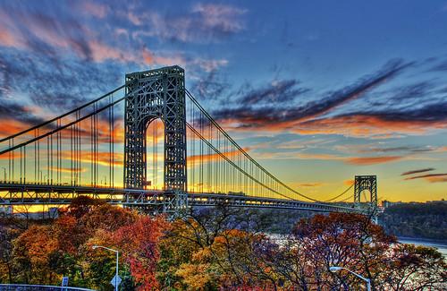 sunset sky newyork clouds river washington tramonto manhattan hudson heights hdr georgewashingtonbridge crepuscolo 4xp photomatix