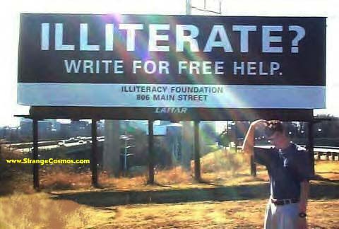 illiterate sign