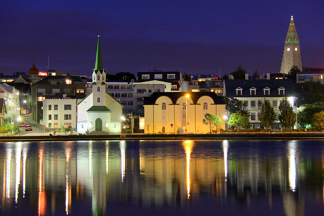 August midnight in downtown Reykjavik, Iceland