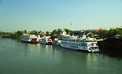 River boats moored at the old town