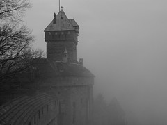 Castle turret on a cloudy day