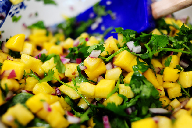 Pineapple mango salsa the pioneer woman cooks ree drummond for Pioneer woman fish tacos
