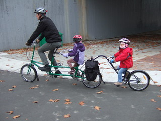 Bicycle train! Bike Friday tandem and Burley Piccolo