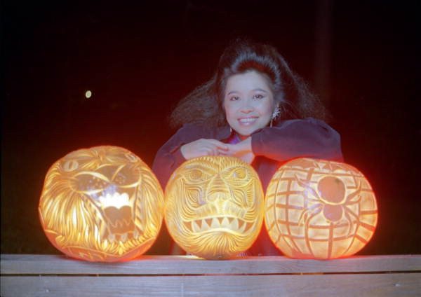 Pam Maneeratana displays her carved pumpkins: Tallahassee, Florida