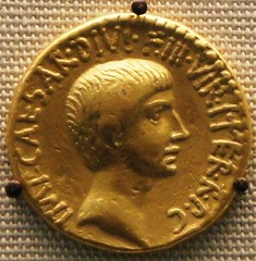RRC 540/1 gold portrait aureus of Octavian 36BC with temple on reverse on display in the British Museum