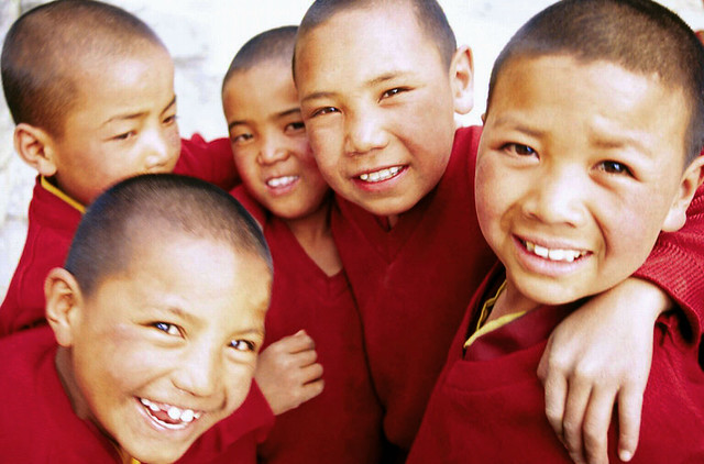 Child monks grouped together at Ki Gompa, Spiti Valley-India