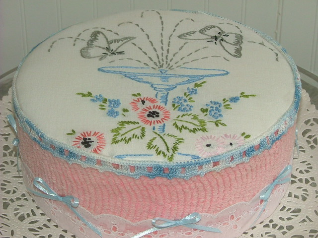 Vintage chenille embroidery cake butterfly