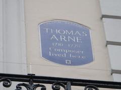 Photo of Thomas Arne blue plaque
