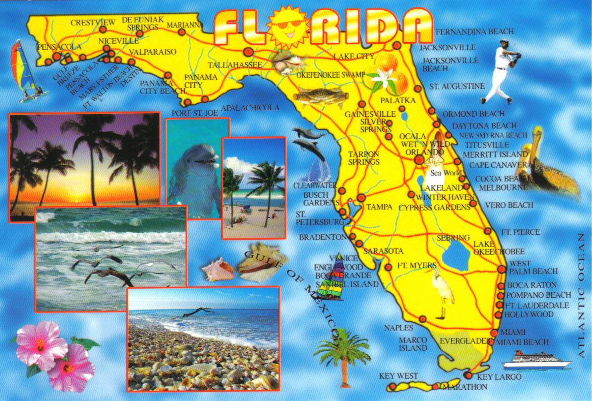 Florida Map Postcard  Available A Photo On Flickriver - Florida map crestview