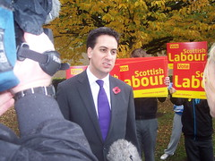 Ed Miliband being interviewed in Glasgow