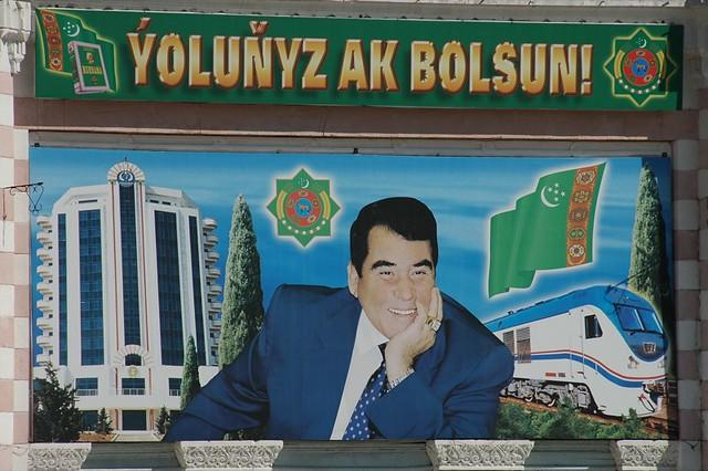 Smiling Turkmenbashi for Railway - Turkmenbashi, Turkmenistan