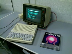 apple //c with hp monitor and wishbringer infocom IF text adventure