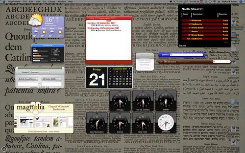 My dashboard, 21 September 2007