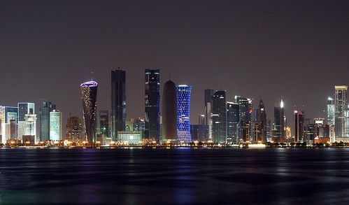 Doha, Qatar skyline by night