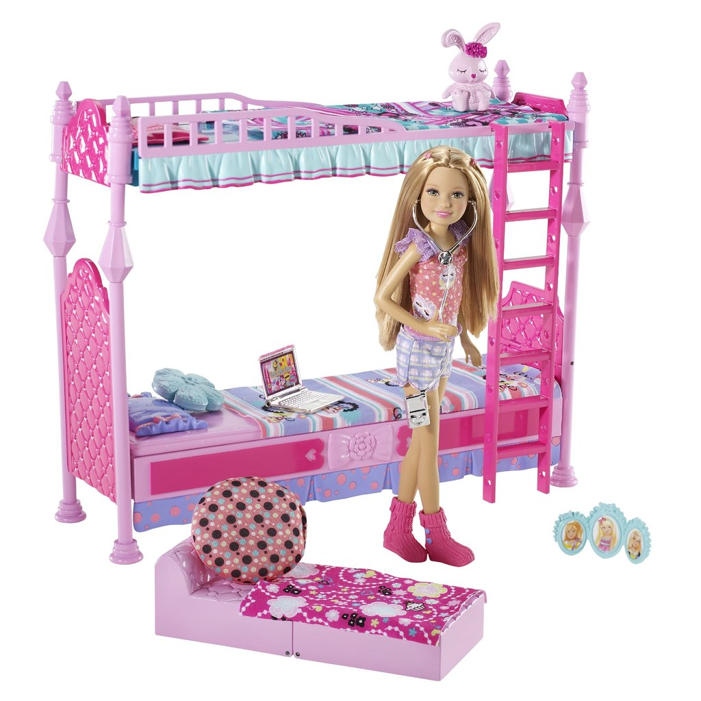 Barbie sisters sleeptime bedroom and stacie doll set a for Accessoire maison barbie
