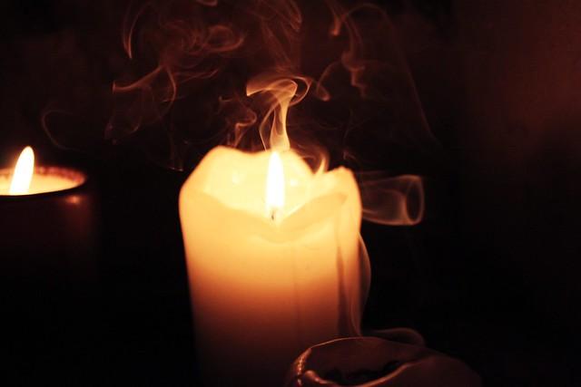 smoke on the candle.