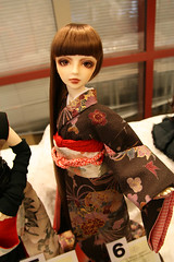 geisha, brown, clothing, red, kimono, woman, female, lady, costume, dress, doll, toy,