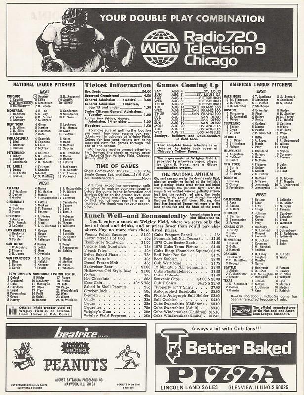 1979 Chicago Cubs Scorecard - Inside