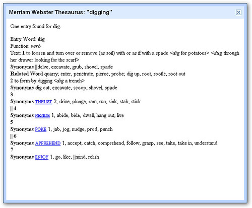 Thesaurus tool in Docs