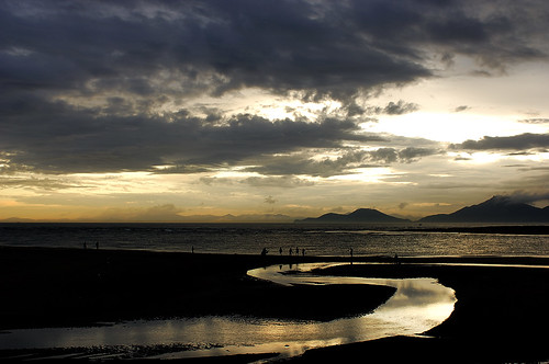 travel sunset sea summer black beach clouds landscape gold nikon asia korea busan southkorea dadaepo afs287028d