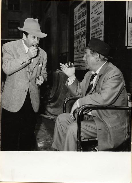 1957 Sept 14 anon for Keystone, Studios d'Epinay (France) - Georges Simenon meets Jean Gabin on movie set