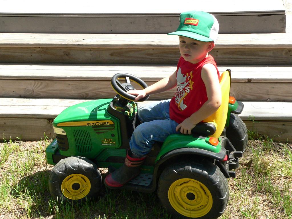 P1140634   The little farmer on his John Deere tractor