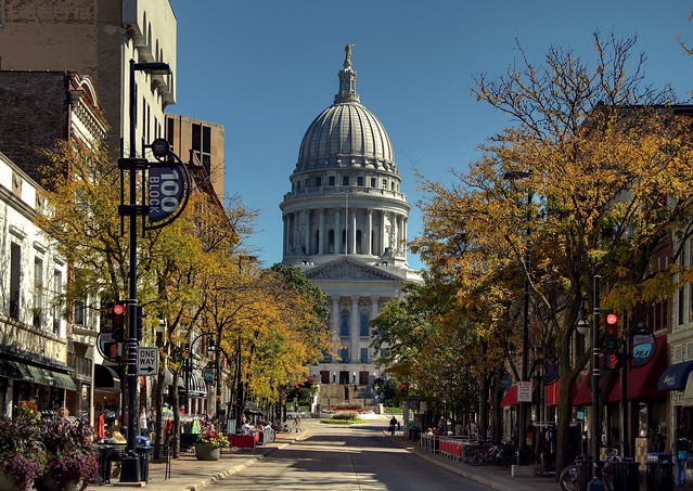 Looking up State Street in Autumn