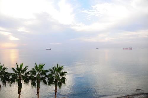 morning blue light sea white water clouds sunrise reflections coast boat waterfront cyprus 111 larnaka nikond300 larnakacyprus cyprusseascape varnavasthearchitect larnakabay iamnikon