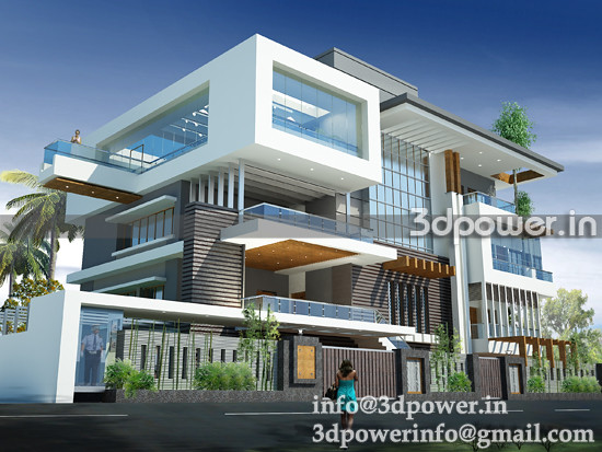 and security view of villa 3d rendering and 3d modeling services india