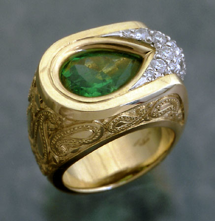 Men 39s Emerald Ring Emerald and diamonds in a Paisley style engraved ring