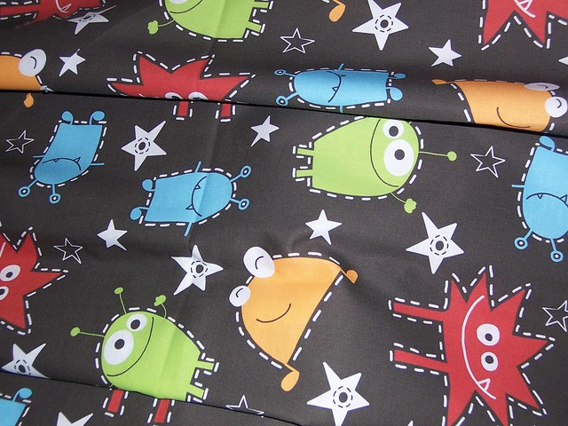 Alien monster invasion cotton fabric flickr photo sharing for Alien fabric