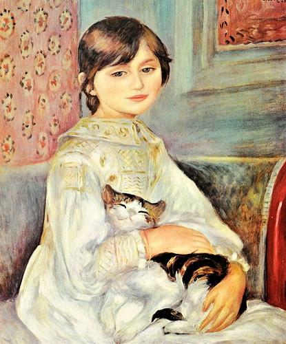 L'Enfant au chat - Mademoiselle Julie Manet- (1887) Huile sur toile 64,5 X 53,5cm -Renoir - Collection Rouart, Paris