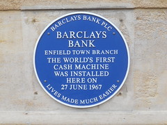 Photo of Barclays automated teller machine, Enfield blue plaque