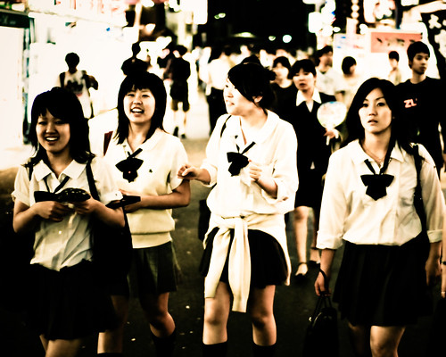 School girls in Shinjuku in the evening