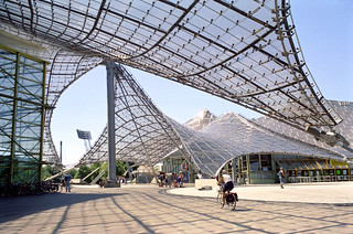 munich olympic park - plaza with canopies
