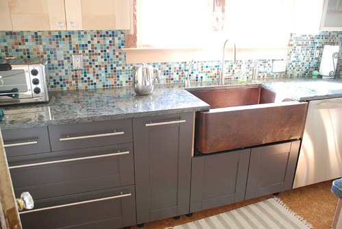 White lacquer gray kitchen cabinets - Gray painted kitchen cabinets of eclectic kitchen ...